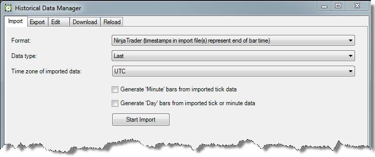 NinjaTrader 7 Historical Data Manager