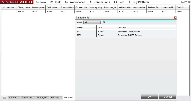 Instruments UI 1 Minute symbol list